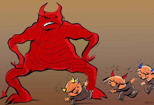 Cartoon: devil (medium) by oguzgurel tagged humor