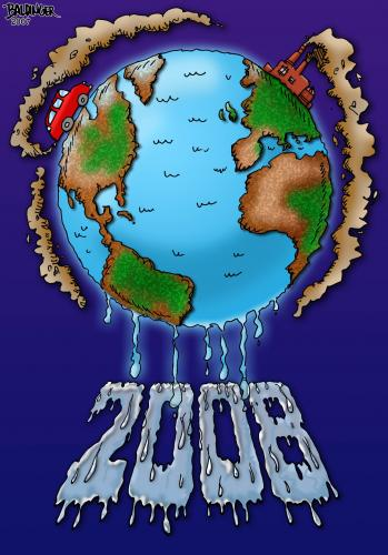 Cartoon: 2008 (medium) by dbaldinger tagged pollution,ecology,environment,earth,