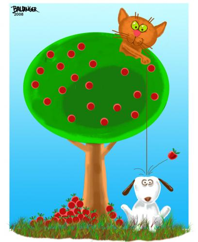 Cartoon: Apples (medium) by dbaldinger tagged cat,dog,humor,apples,trees,