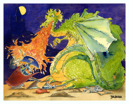 Cartoon: Dragon Battle (medium) by dbaldinger tagged fantasy,dragon,knight