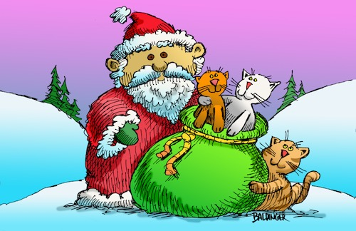 Cartoon: Merry Christmas (medium) by dbaldinger tagged santa,cats,winter,holiday,snow,presents,santa,cats,winter,holiday,snow,presents