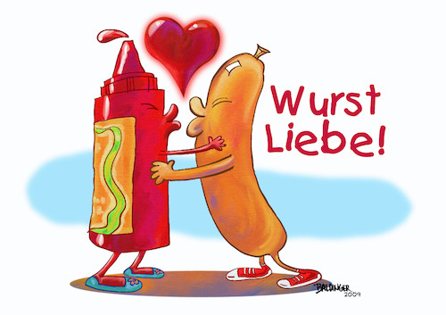 Cartoon: Sausage Love (medium) by dbaldinger tagged currywurst,food,berlin,street,vendor,sausage,currywurst,food,berlin,street,vendor,sausage