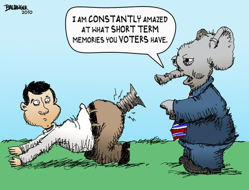 Cartoon: The Modern American Voter (medium) by dbaldinger tagged election,voters,americans,republicans,elephant