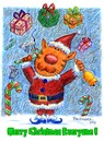Cartoon: Merry Christmas 2011 (small) by dbaldinger tagged christmas,santa,cat,cats,bellringer,presents,candy,canes