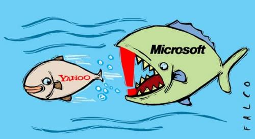 Cartoon: Microsoft went to shop (medium) by alexfalcocartoons tagged microsoft,coomercial,yahoo,