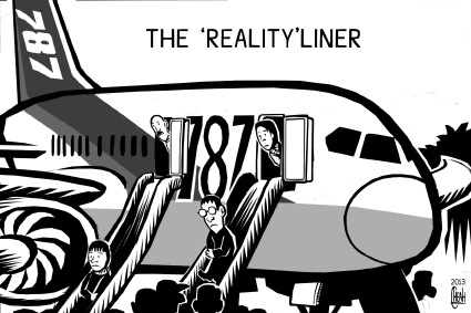 Cartoon: Dreamliner grounded (medium) by sinann tagged dreamliner,boeing,787,grounded,safety