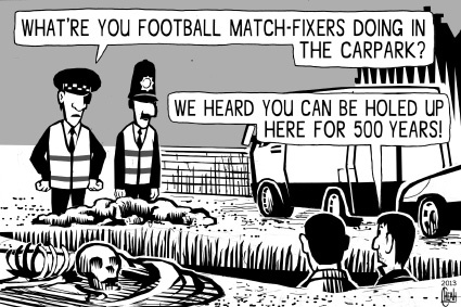 Cartoon: Football matchfixers (medium) by sinann tagged football,matchfixers,richard,the,third,carpark,hide
