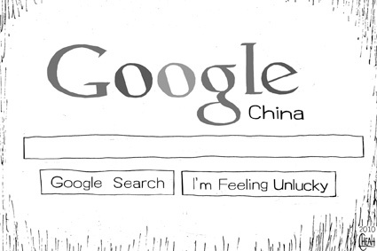 Cartoon: Google China (medium) by sinann tagged google,china,unlucky,search,engine