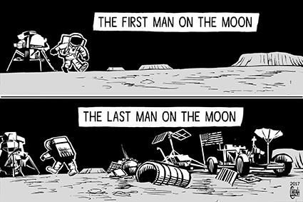 Cartoon: Last man on the moon (medium) by sinann tagged last,man,on,the,moon