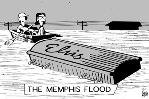 Cartoon: Memphis flood (medium) by sinann tagged memphis,flood,elvis,presley,casket,coffin