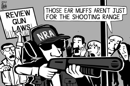 Cartoon: NRA ear muffs (medium) by sinann tagged nra,national,rifle,association