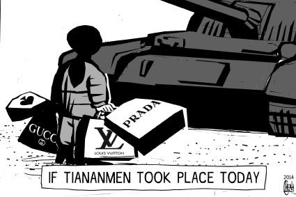Cartoon: Tiananmen protest (medium) by sinann tagged tiananmen,protester,shopper,branded,goods