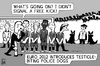 Cartoon: Euro 2012 (small) by sinann tagged euro,2012,police,dogs,free,kick,testicle,biting