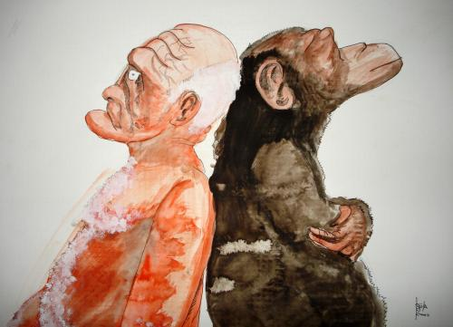 Cartoon: Apes and Humans 2 (medium) by Björn Krause tagged aah,
