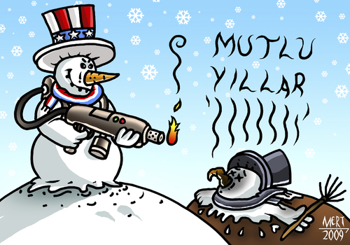 Cartoon: SNOWMAN (medium) by MERT_GURKAN tagged caricature,snowman