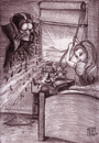 Cartoon: DAWN_AND_VICTORY (small) by MERT_GURKAN tagged vampire,sun,caricature