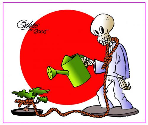Cartoon: Bonsai (medium) by Salas tagged bonsai,skull,tree,suicide,