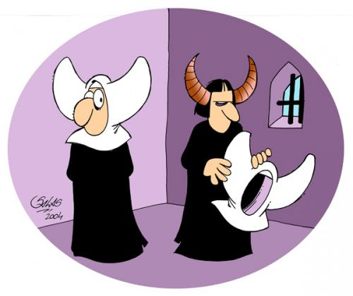 Cartoon: Nuns (medium) by Salas tagged nun,devil,surprise,