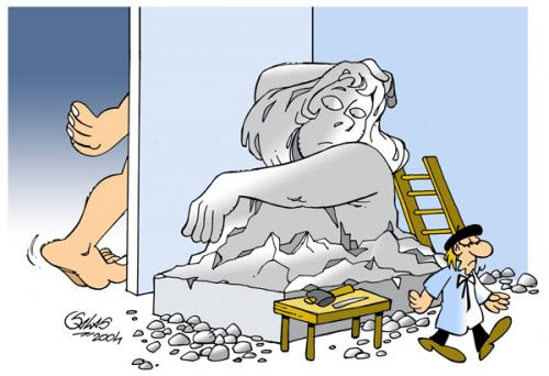 Cartoon: The model (medium) by Salas tagged sculptor,art,stone,model,