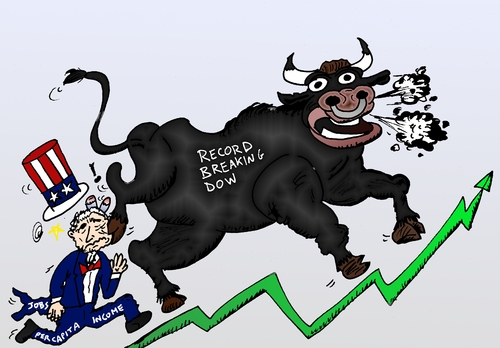 Cartoon: Bull market tramples Uncle Sam (medium) by BinaryOptions tagged binary,option,options,trade,trader,trading,optionsclick,bull,market,trample,uncle,sam,dow,jones,djia,industrial,average,capita,income,jobs,caricature,editorial,financial,news,business,cartoon,webcomic