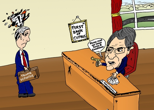 Cartoon: Cypriot Banking Crisis Cartoon (medium) by BinaryOptions tagged binary,option,options,cyprus,optionsclick,bank,banking,finance,financial,economy,economics,nicos,anastasiades,news,editorial,business,caricature,comic,webcomic,cartoon