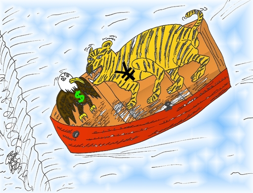 Cartoon: Eagle Tiger financial cartoon (medium) by BinaryOptions tagged asian,tiger,american,bald,eagle,yen,yuan,dollar,usd,jpy,caricature,editorial,cartoon,business,financial,economic,economy,optionsclick,binary,option,options,trader,trading,trade,platform,waterfall