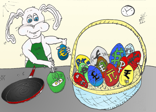 Cartoon: Easter Bunny makes omlette (medium) by BinaryOptions tagged binary,option,options,optionsclick,caricature,editorial,cartoon,comic,webcomic,egg,eggs,euro,currency,forex,basket,currencies,financial,business,economic,omlette,easter,bunny