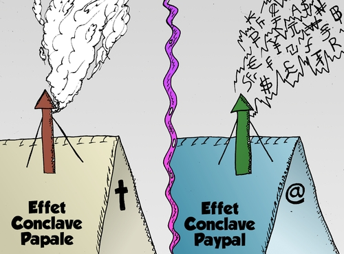 Cartoon: Effect Conclave Papale Paypal (medium) by BinaryOptions tagged options,binaires,optionsclick,papale,paypal,conclave,effet,news,nouvelles,infos,actualites,caricature,comique,webcomic,trading