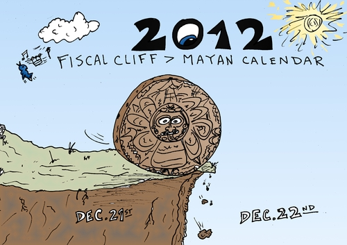 Cartoon: Mayan calendar at Fiscal cliff (medium) by BinaryOptions tagged binary,option,options,trade,trader,trading,mayan,calendar,optionsclick,fiscal,cliff,editorial,cartoon,caricature,comic,financial,finance,economy,economics,physics,end,world