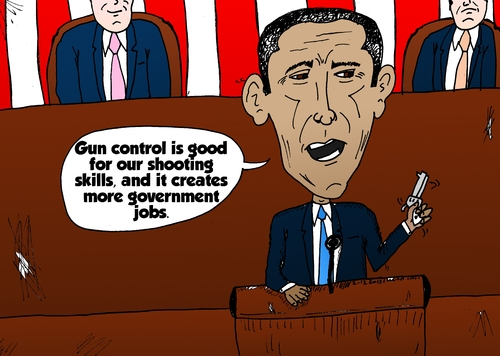 Cartoon: Obama guns and government jobs (medium) by BinaryOptions tagged binary,option,options,trade,trader,trading,optionsclick,president,barack,obama,caricature,cartoon,editorial,comic,economics,government,jobs,gun,control,state,union,congress,news