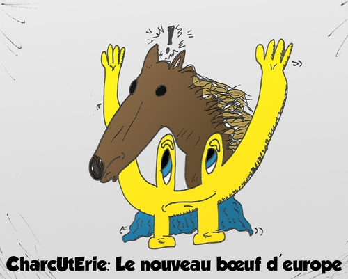 Cartoon: scandale charcuterie boeuf euro (medium) by BinaryOptions tagged option,binaire,options,binaires,optionsclick,euroman,charcuterie,viande,cheval,boeuf,caricature,dessin,comique,webcomic,news,infos,nouvelles,actualites,editorial,financier,affaires,affaire
