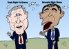Cartoon: Bush and Obama caricature (small) by BinaryOptions tagged optionsclick,binary,option,options,trade,trading,barack,hussein,obama,george,bush,war,terror,prosecute,editorial,caricature,cartoon,webcomic,comic,news,opinion,politics,policies,policy,politician,president,united,states