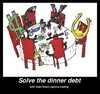 Cartoon: currencies resolving dinner debt (small) by BinaryOptions tagged binary,option,trader,options,trading,caricature,cartoon,webcomic,comic,meme,satire,parody,forex,foreign,currency,exchange,optionsclick,investor,debt