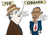 Cartoon: FDR and Obama caricature (small) by BinaryOptions tagged optionsclick,binary,options,option,trader,trade,trading,invest,investor,investment,national,bailout,strategy,policy,financial,fiscal,economic,economy,fdr,franklin,delano,roosevelt,barack,hussein,obama,news,editorial,caricature,cartoon,comic