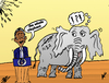 Cartoon: Obama and the NSA elephant (small) by BinaryOptions tagged obama,elephant,nsa,caricature,cartoon,comic,webcomic,options,binary,trade,trading,editorial,political,politician,politics,news