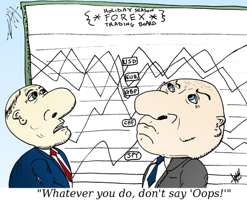 Cartoon: Holiday Forex trader cartoon (medium) by BinaryOptionsBinaires tagged binary,option,options,optionsclick,trader,trading,forex,currencies,currency,usd,gbp,jpy,eur,chf,money,moneys,invest,investment,investor,platform,holiday,cartoon,comic
