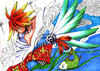 Cartoon: no title (small) by meyco tagged illust,wing,kimono