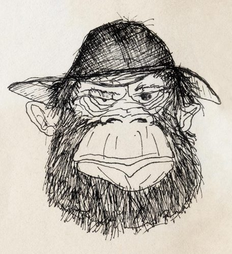 Cartoon: gorilla (medium) by vokoban tagged pen,and,ink,drawing,scribble,doodle