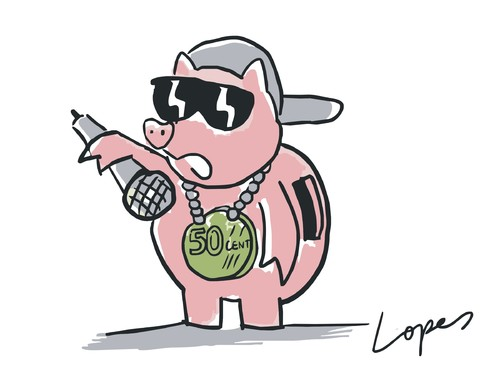 Cartoon: 50 Cent (medium) by Lopes tagged rapper,fifty,cent,piggy,bank,coin,singer,cap,music,rap