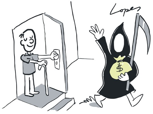 Cartoon: Death Bribe (medium) by Lopes tagged death,grim,reaper,old,man,money,bribe,bag,door,life,goodbye