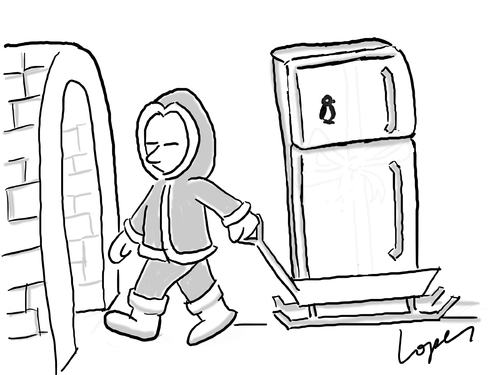 Cartoon: Global Warming Precaution (medium) by Lopes tagged eskimo,iglu,climate,change,refrigerator,fridge,home,cold,ice