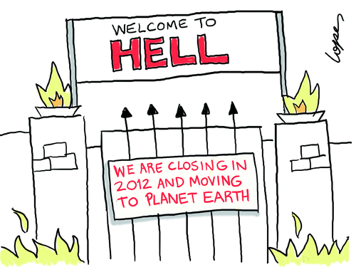 Cartoon: Hell Announcement (medium) by Lopes tagged hell,entrance,fire,global,warming,climate,change,environment,sign,planet,earth