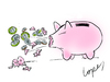 Cartoon: Piggy Flu (small) by Lopes tagged swine,flu,piggy,bank,sneeze,coins,money,schweinegrippe