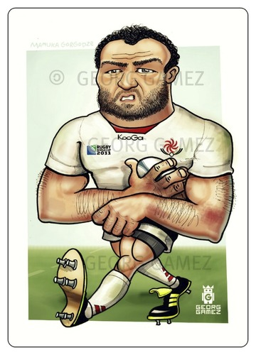 Cartoon: Mamuka gorgodze (medium) by gamez tagged rugby,georg,gamez,ball,sport,georgia,montpllier,mamuka,gorgodze