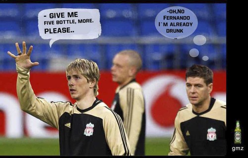 Cartoon: Torres Gerrard (medium) by gamez tagged drunk,liverpool,gmz,gerrard,torres,football,beer,mier,birra