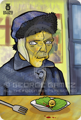 Cartoon: Vincent (medium) by gamez tagged vincent,gamez,yellow,white,simpson,classic,art