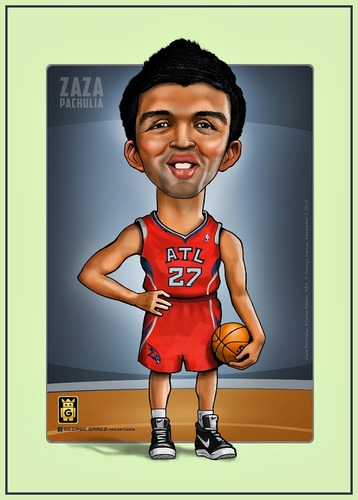 Cartoon: ZaZa Pachulia (medium) by gamez tagged nba,basketball,gamez,zaza,pachulia,atlanta,hawks,ball,georgia,team,forward