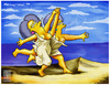 Cartoon: Women Running on the Beach (small) by gamez tagged picasso,gamez,simpsons