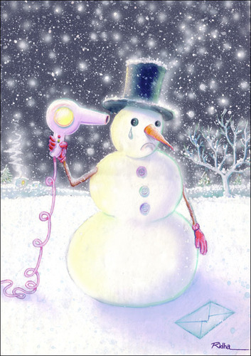 Cartoon: Suicide of a Snowman (medium) by Ridha Ridha tagged suicide,of,snowman,black,humor,cartoon,by,ridha