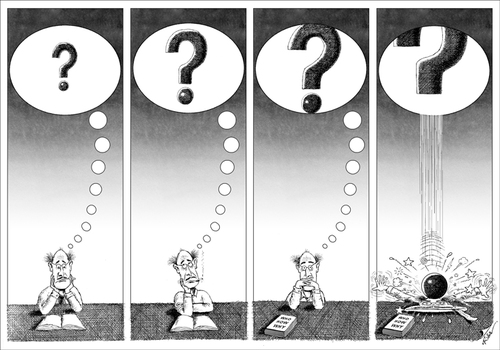 Cartoon: Who? How? Why? (medium) by Ridha Ridha tagged who,how,why,cartoon,by,ridha,from,satiric,book,bubbles,which,was,published,1990,in,germany